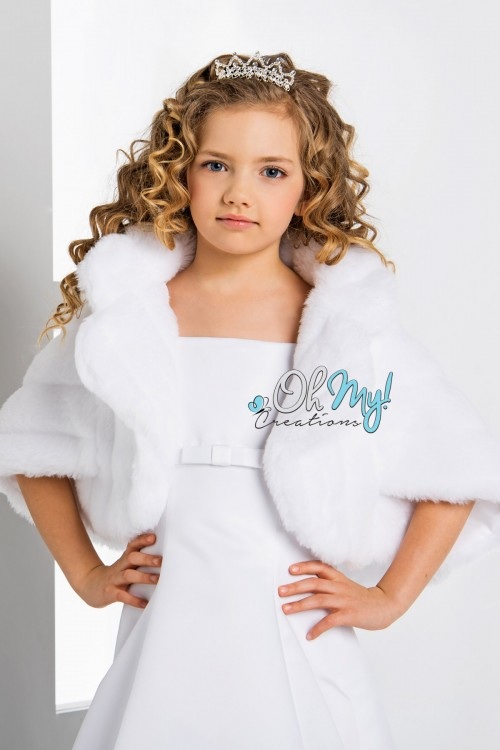 High Collar Sleeved Faux Fur Cape