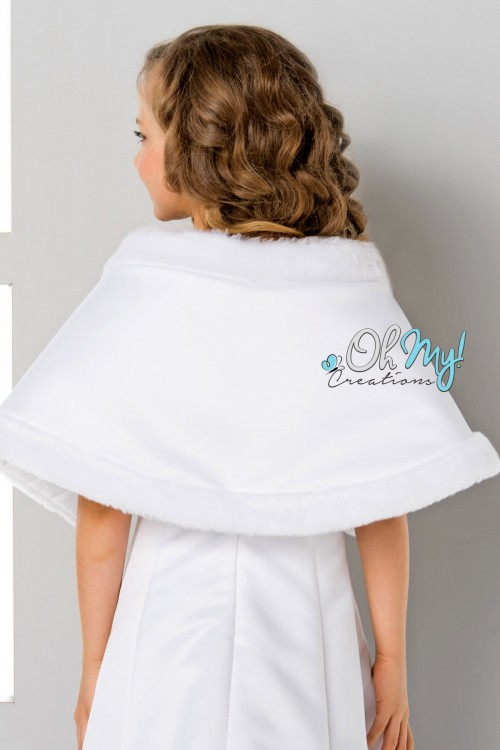 Satin cape with Faux Fur Edging