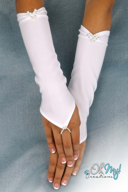 Long Gloves with Loop and Crystals