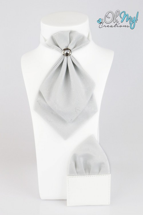 BOYS CRAVAT - SILVER WITH THREAD