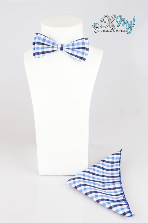 BOYS BOW - BLUE/ WHITE CHECKERED