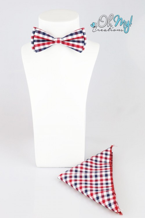 BOYS BOW - RED/ NAVY/ WHITE CHECKERED