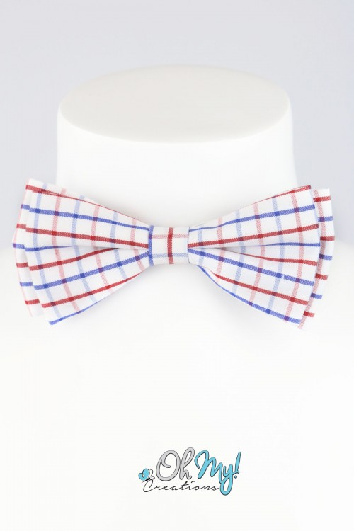 BOYS BOW - RED/ BLUE/ WHITE CHECKERED