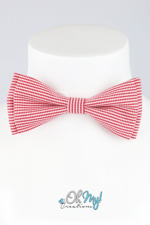 BOYS BOW - RED/  WHITE FINE CHECKERED