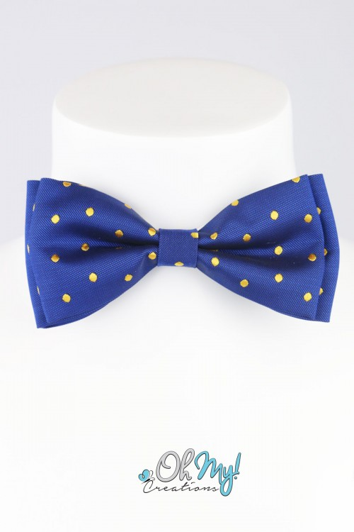 BOYS BOW - BLUE/ YELLOW DOTS