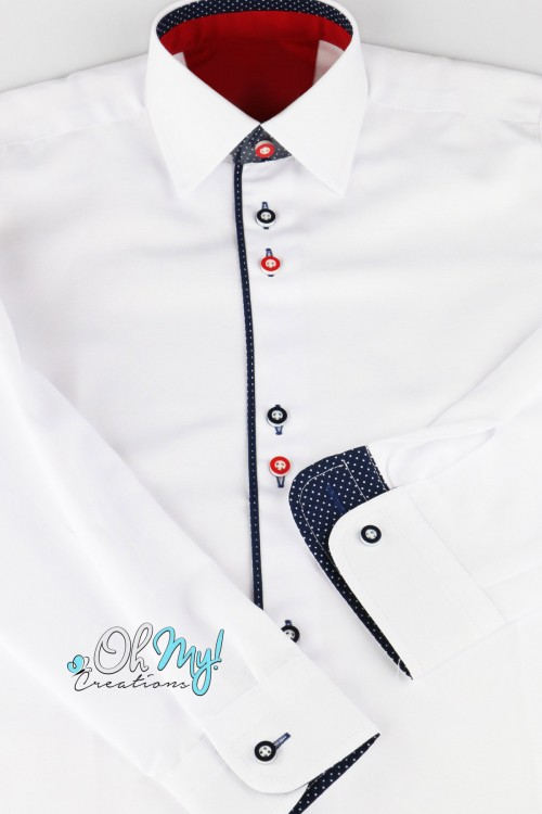 BOYS SHIRT - WHITE/RED/NAVY