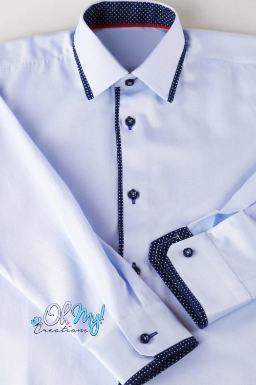 BOYS SHIRT - LIGHTBLUE/NAVY