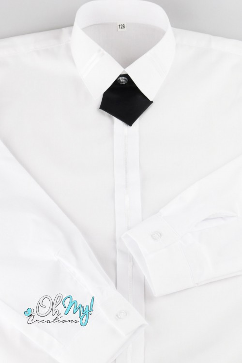 BOYS SHIRT - WHITE WITH BLACK TAB