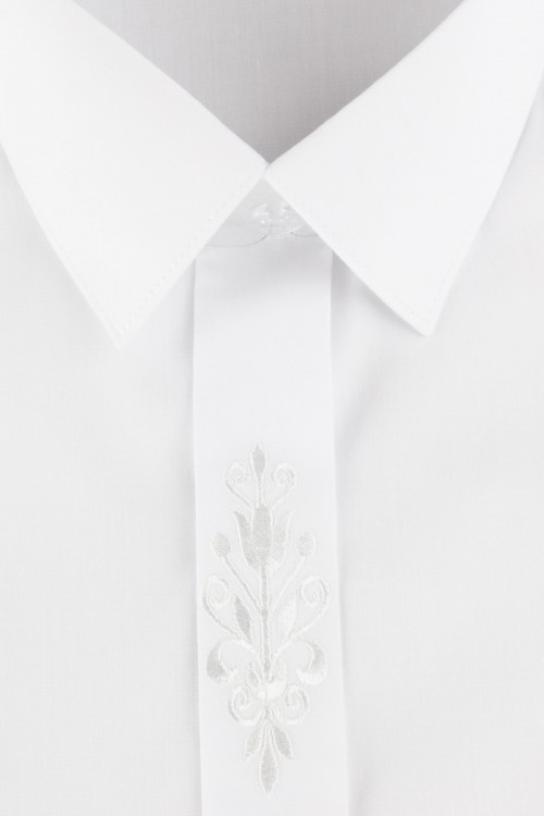 BOYS SHIRT - WHITE WITH EMBROIDERY