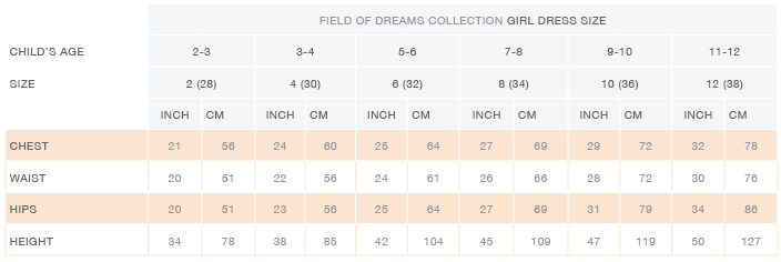 Daydream Dresses Size Chart